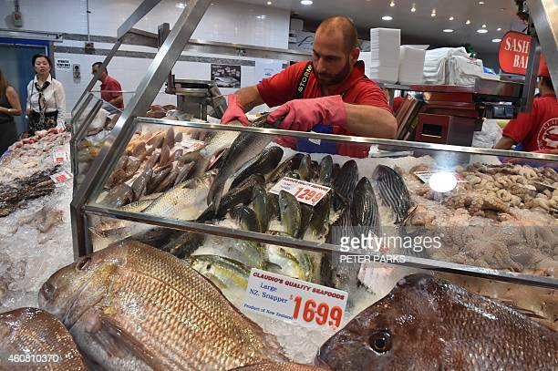 Photo taken early on December 23 2014 shows a vendor preparing fish for sale at the Sydney Fish Market in Sydney The Sydney Fish Markets opened for...