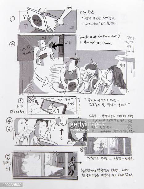 """Photo taken Feb. 10 in Seoul shows a storyboard from Oscar-winning film """"Parasite."""""""