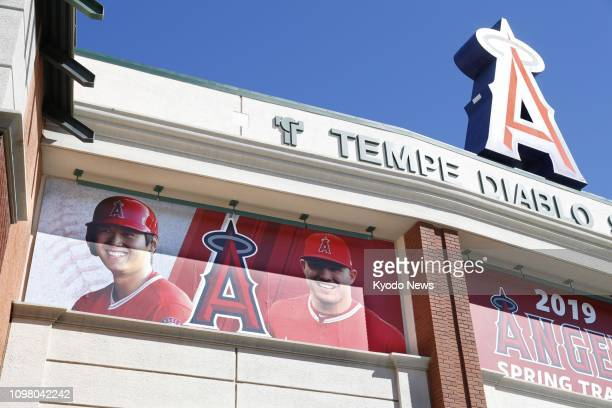 Photo taken Feb 11 shows photos of Shohei Ohtani and Mike Trout of the Los Angeles Angels displayed at Tempe Diablo Stadium the club's spring...