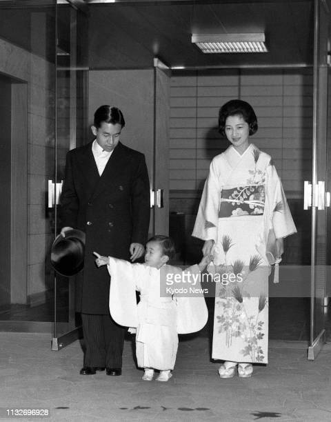 Photo taken Feb 23 shows Prince Hiro now Japanese Crown Prince Naruhito on his second birthday at the Togu Palace in Tokyo with his parents Crown...