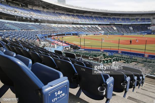 Photo taken Feb. 29 shows a preseason game between the Lotte Marines and the Rakuten Eagles at Zozo Marine Stadium in Chiba, east of Tokyo, being...