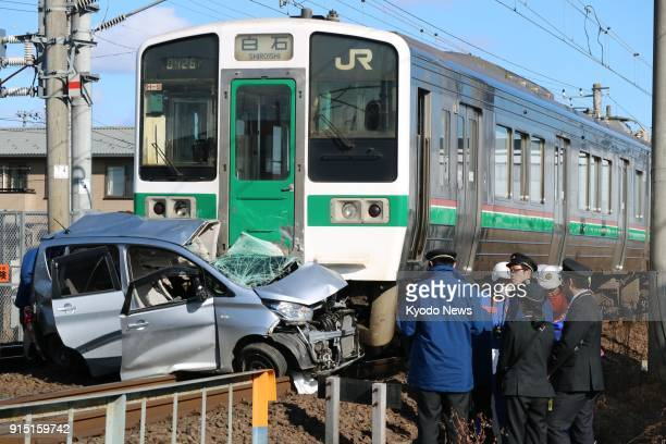 Photo taken Feb 7 shows the scene of a fatal collision between a car and a train in Natori Miyagi Prefecture northeastern Japan ==Kyodo