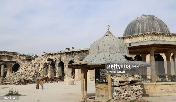 Photo taken Feb 8 shows the Umayyad Mosque in the old city of Aleppo northern Syria with debris from its destroyed minaret following bombings in 2013