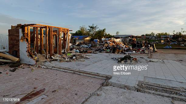 Photo taken following the tornado that swept through Moore, Oklahoma on 5-20-13. Oftentimes all that was left of an edifice was a corner, in this...