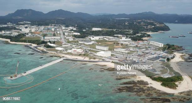 Photo taken from a drone on Jan 11 shows the US Marine Corps Camp Schwab in Nago in the southern Japan island prefecture of Okinawa ==Kyodo
