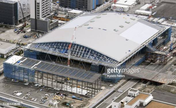 Photo taken from a Kyodo News helicopter on April 12 shows Ariake Gymnastics Centre under construction for the 2020 Tokyo Olympics and Paralympics...