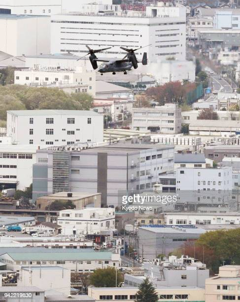 Photo taken from a Kyodo News helicopter on April 5 2018 shows a US Air Force CV22 Osprey heading to Yokota Air Base in Tokyo ==Kyodo