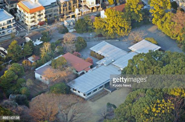 Photo taken from a Kyodo News helicopter on Dec 18 2017 shows the Takanawa residence in Tokyo to which Emperor Akihito and Empress Michiko will move...