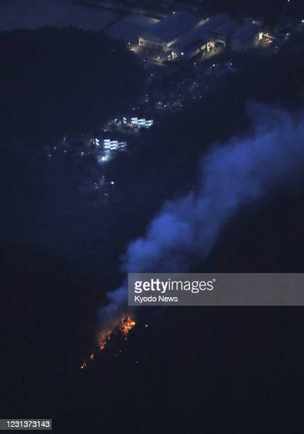 Photo taken from a Kyodo News helicopter on Feb. 25 shows the site of a wildfire in Ashikaga in Tochigi Prefecture, eastern Japan. The wildfire...