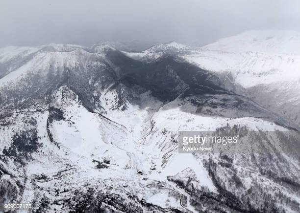 Photo taken from a Kyodo News helicopter on Jan 23 shows the area surrounding Mt Kusatsushirane in Gunma Prefecture northwest of Tokyo which erupted...