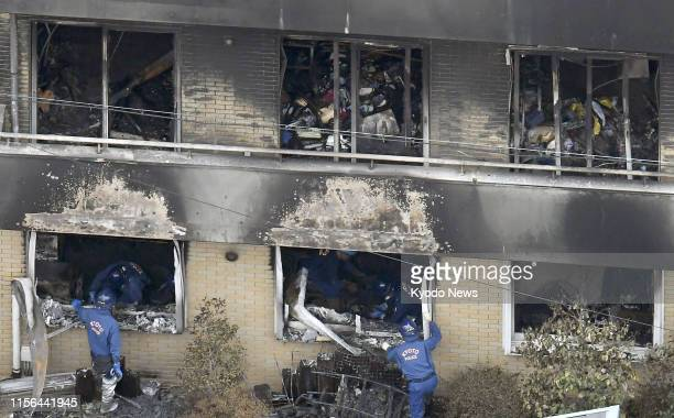 Photo taken from a Kyodo News helicopter on July 19 shows the threestory studio of Kyoto Animation Co in Kyoto which was set on fire by a man the...