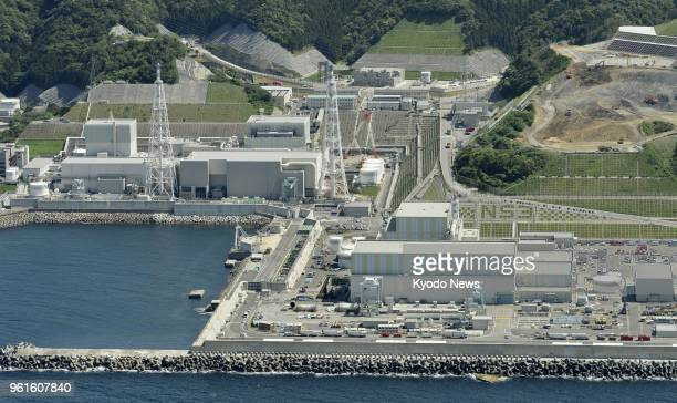 Photo taken from a Kyodo News helicopter on May 21 shows the No 1 No 2 and No 3 reactors at Chugoku Electric Power Co's Shimane nuclear power plant...