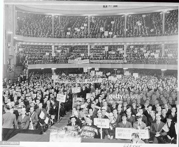 Photo taken from stage of the Manhattan Center November 24 where 7000 members of the Brotherhood of consolidate Edison Employees gathered to discuss...