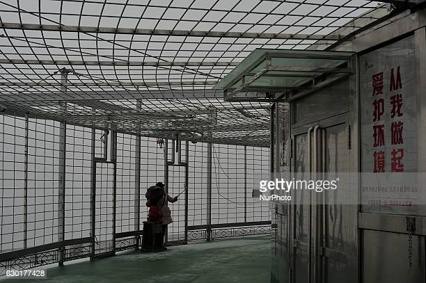 A photo taken from the Dragon towera supertall skyscraper under construction at the Nangang district shows the city being shrouded in heavy smog on...
