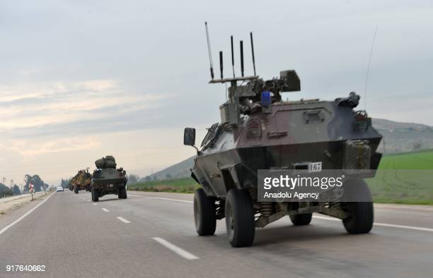 A photo taken from Turkey's Hatay shows that military vehicles arrive at Kirikhan district of Hatay after being transported to support the units at...