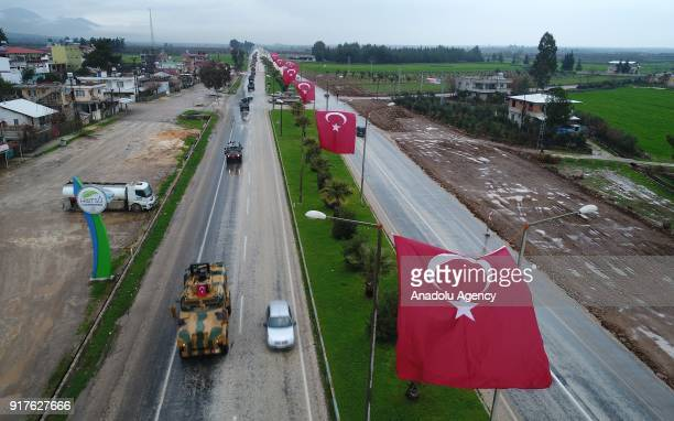 A photo taken from Turkey's Hatay shows that military vehicles arrive after being transported to support the units at border within the 'Operation...