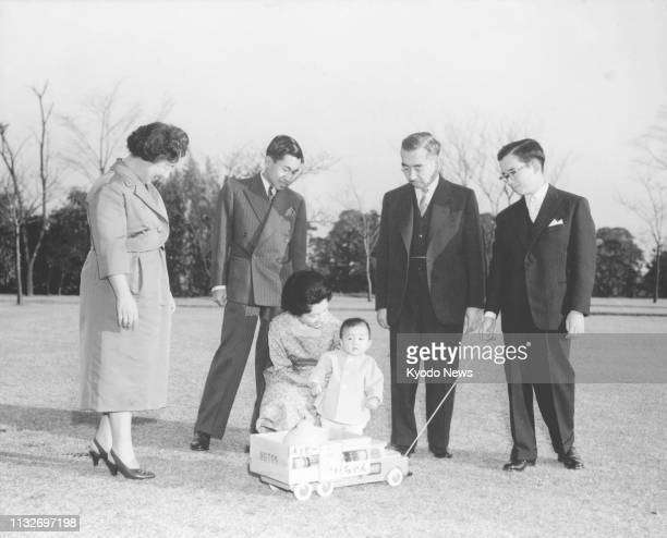 Photo taken in 1960 shows a young Prince Hiro now Japanese Crown Prince Naruhito with Empress Nagako Crown Prince Akihito Crown Princess Michiko...
