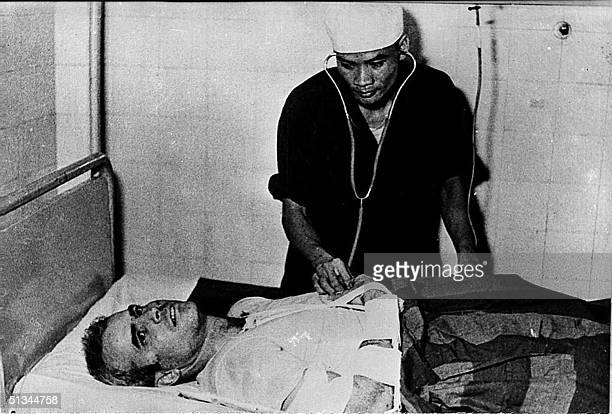 A photo taken in 1967 shows US Navy Airforce Major John McCain being examined by a Vietnamese doctor John McCain current US presidential hopeful was...
