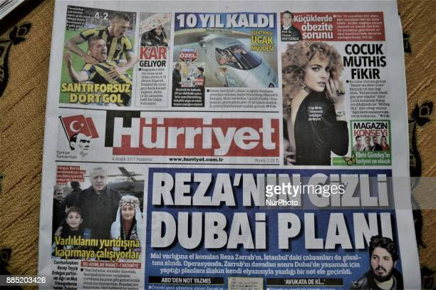 A photo taken in Ankara Turkey on December 4 2017 shows that Hurriyet one of the major Turkish daily newspapers reveals handwritten notes allegedly...