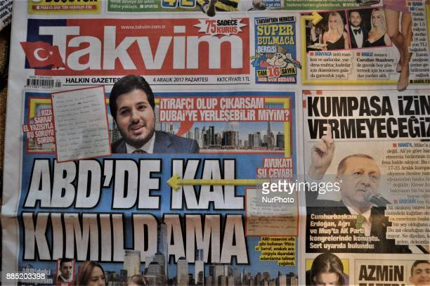 A photo taken in Ankara Turkey on December 4 2017 shows that Takvim a Turkish progovernment daily newspaper reveals handwritten notes allegedly...