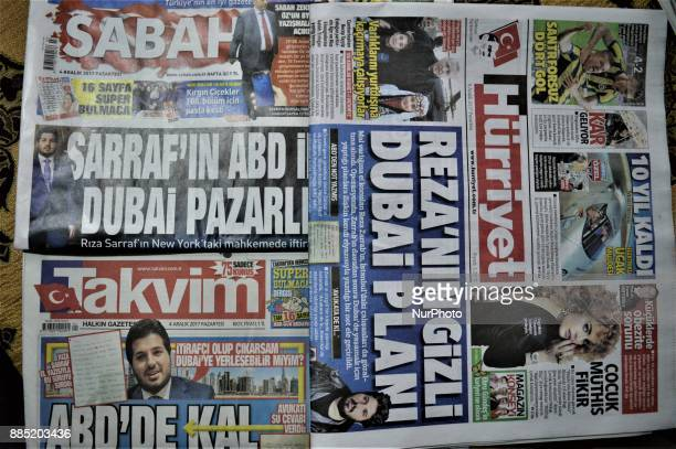 A photo taken in Ankara Turkey on December 4 2017 shows that Turkish daily newspapers reveal handwritten notes allegedly written by Iranbased...