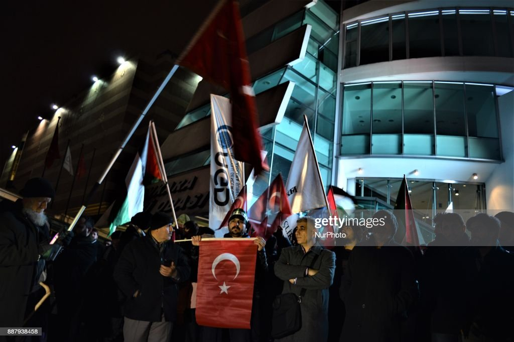 A photo taken in Ankara, Turkey on December 7, 2017 shows that Turkish Muslims take part in a protest near the U.S. Embassy against its president Donald Trump's official recognition the city of Jerusalem as the capital of Israel on December 6.
