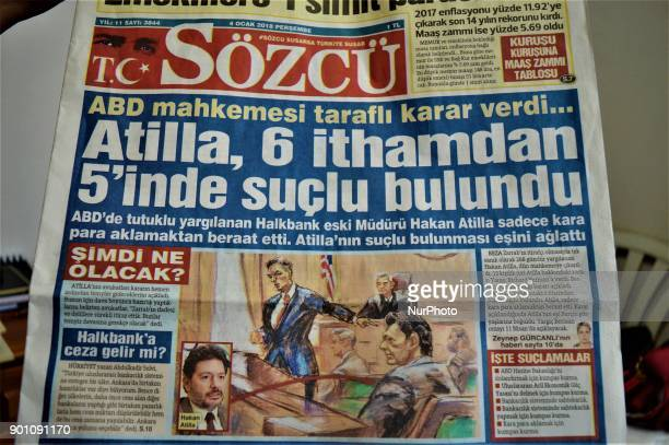 A photo taken in Ankara Turkey on January 4 2017 shows Sozcu a Turkish opposition daily newspaper appearing with a headline on its front page that...