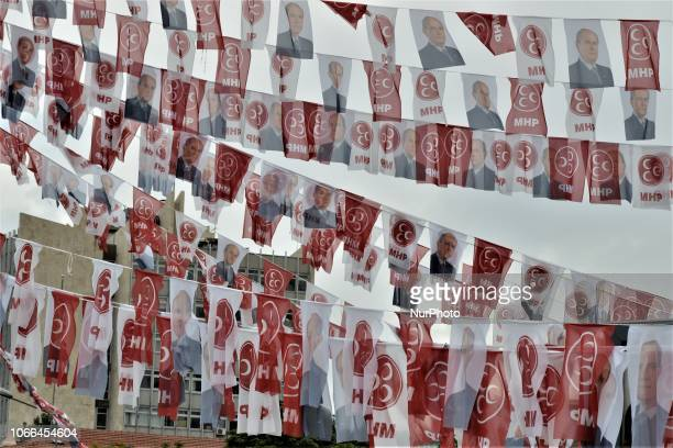A photo taken in Ankara Turkey on June 20 2018 shows flags of the opposition Nationalist Movement Party and its leader Devlet Bahceli in the historic...