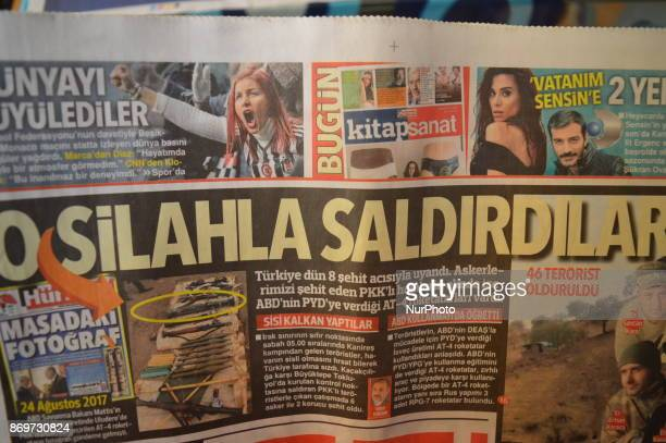 A photo taken in Ankara Turkey on November 3 2017 shows that Hurriyet one of the major Turkish daily newspapers accuses the United States on its...