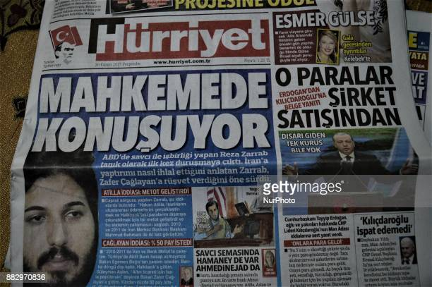 Photo taken in Ankara, Turkey on November 30, 2017 shows that Hurriyet, one of the major Turkish daily newspapers, depicts the testimony of...