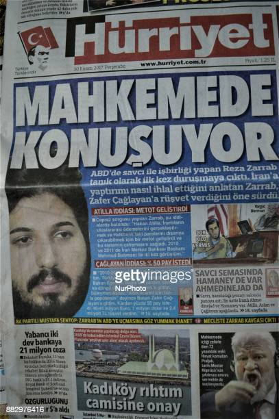 A photo taken in Ankara Turkey on November 30 2017 shows that Hurriyet one of the major Turkish daily newspapers depicts the testimony of Iranbased...