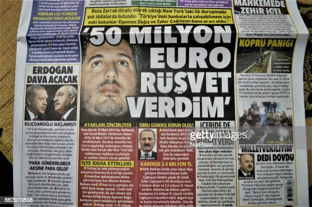 Photo taken in Ankara, Turkey on November 30, 2017 shows that Posta, a Turkish tabloid daily newspaper, depicts the testimony of Iran-based...