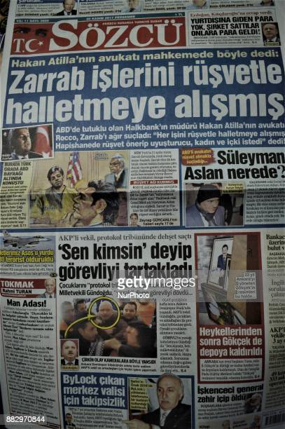 Photo taken in Ankara, Turkey on November 30, 2017 shows that Sozcu, a Turkish opposition daily newspaper, depicts the testimony of Iran-based...