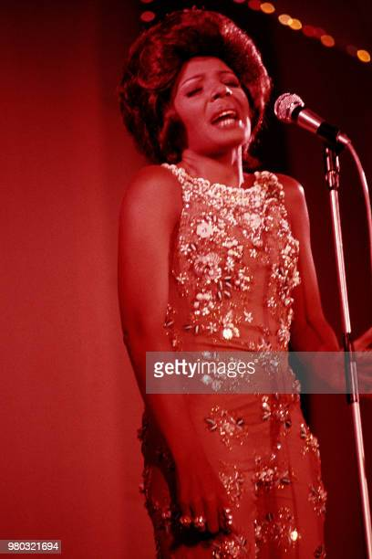 Photo taken in August 1970 shows Welsh singer Shirley Bassey performing in Deauville