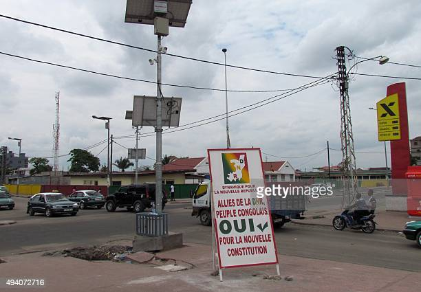 A photo taken in Brazzaville on October 24 2015 shows a billboard in support of tomorrow's controversial referendum allowing the longtime Congolese...