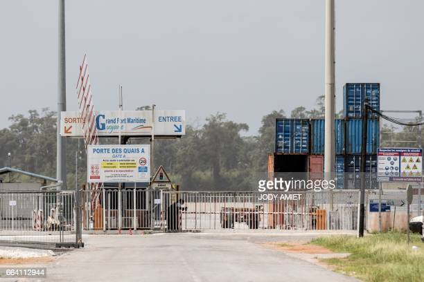 A photo taken in Cayenne on April 3 2017 shows the Grand Port Maritime Guyane the main seaport of French Guiana where activity has been disrupted by...