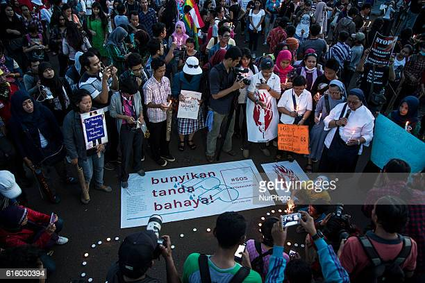 Photo taken in Jakarta Indonesia on 04 May 2016 show a Demonstration action for a child Raping case at BenkuluIndonesia that causing by 14 boys...