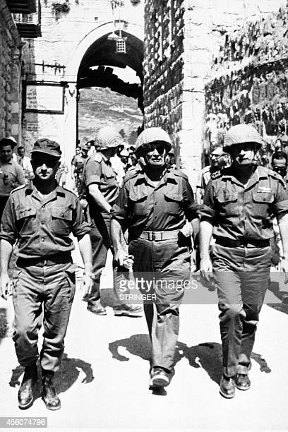 Photo taken in June 1967 in Jerusalem shows the deputy chiefofstaff of the Israeli army General Yitzhak Rabin and Israeli Defense Minister Moshe...