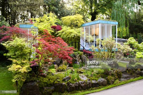 "Photo taken in London on May 21 shows the ""Green Switch"" by Japanese garden designer Kazuyuki Ishihara, a gold medal-winning garden at the 2019..."