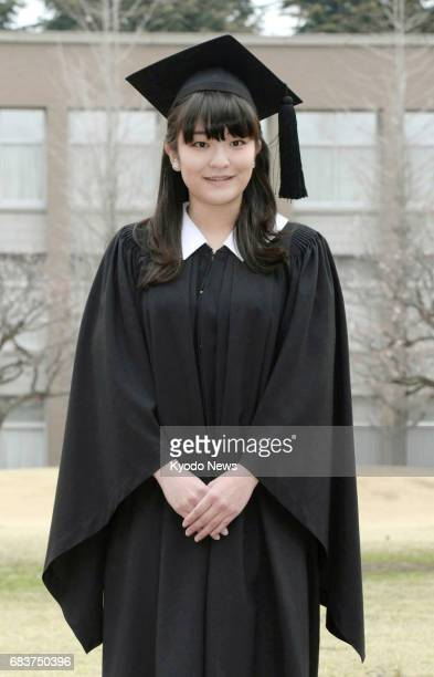 Photo taken in March 2014 shows Japan's Princess Mako a granddaughter of Emperor Akihito posing at Tokyo's International Christian University ahead...