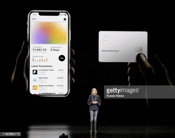 Photo taken in March 2019 shows an Apple Inc official explaining Apple Card a digital credit card available to iPhone users at an event in Cupertino...