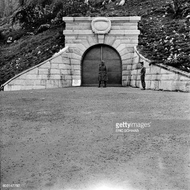 Photo taken in May 1945 shows US soldiers at the Berghof Adolf Hitler's home in the Obersalzberg of the Bavarian Alps near Berchtesgaden Bavaria...