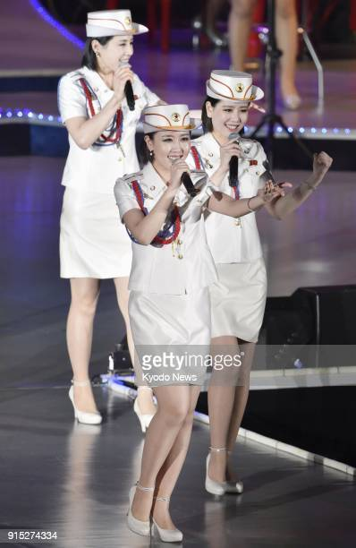Photo taken in May 2016 shows North Korea's allfemale Moranbong Band performing in Pyongyang North Korea ==Kyodo