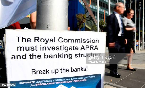 A photo taken in Melbourne on April 23 2018 show a placard outside the royal commission set up in February to investigate misconduct in the banking...