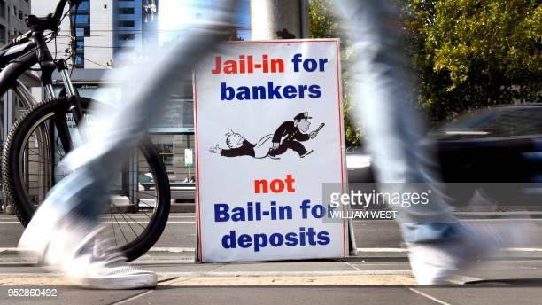 A photo taken in Melbourne on April 23 2018 show placards outside the royal commission set up in February to investigate misconduct in the banking...