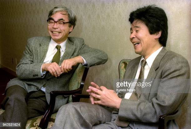 """Photo taken in November 1990 shows Japanese animation film directors Isao Takahata and Hayao Miyazaki talking about the movie """"Only Yesterday.""""..."""