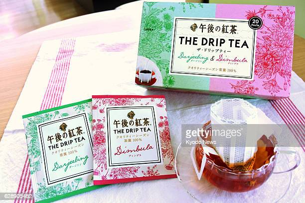 Photo taken in November 2016 shows The Drip Tea bags codeveloped by Kirin Beverage Co and Doutor Coffee Co Major coffee chains and beverage companies...