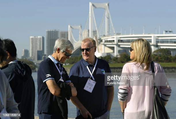 Photo taken in November 2018 shows officials inspecting Odaiba Marine Park a 2020 Summer Olympics and Paralympics venue for triathlon and aquatics in...