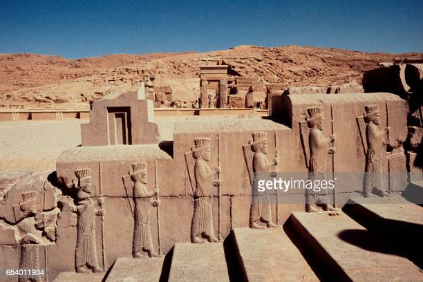 Photo taken in October 1971 shows a bas relief of the ruined monuments of Persepolis. - UNESCO declared the ruins of Persepolis a World Heritage Site...