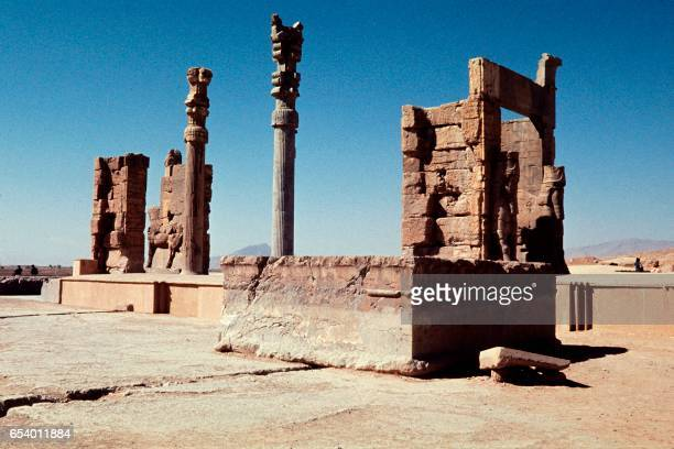 Photo taken in October 1971 shows a general view of the ruined monuments of Persepolis. - UNESCO declared the ruins of Persepolis a World Heritage...